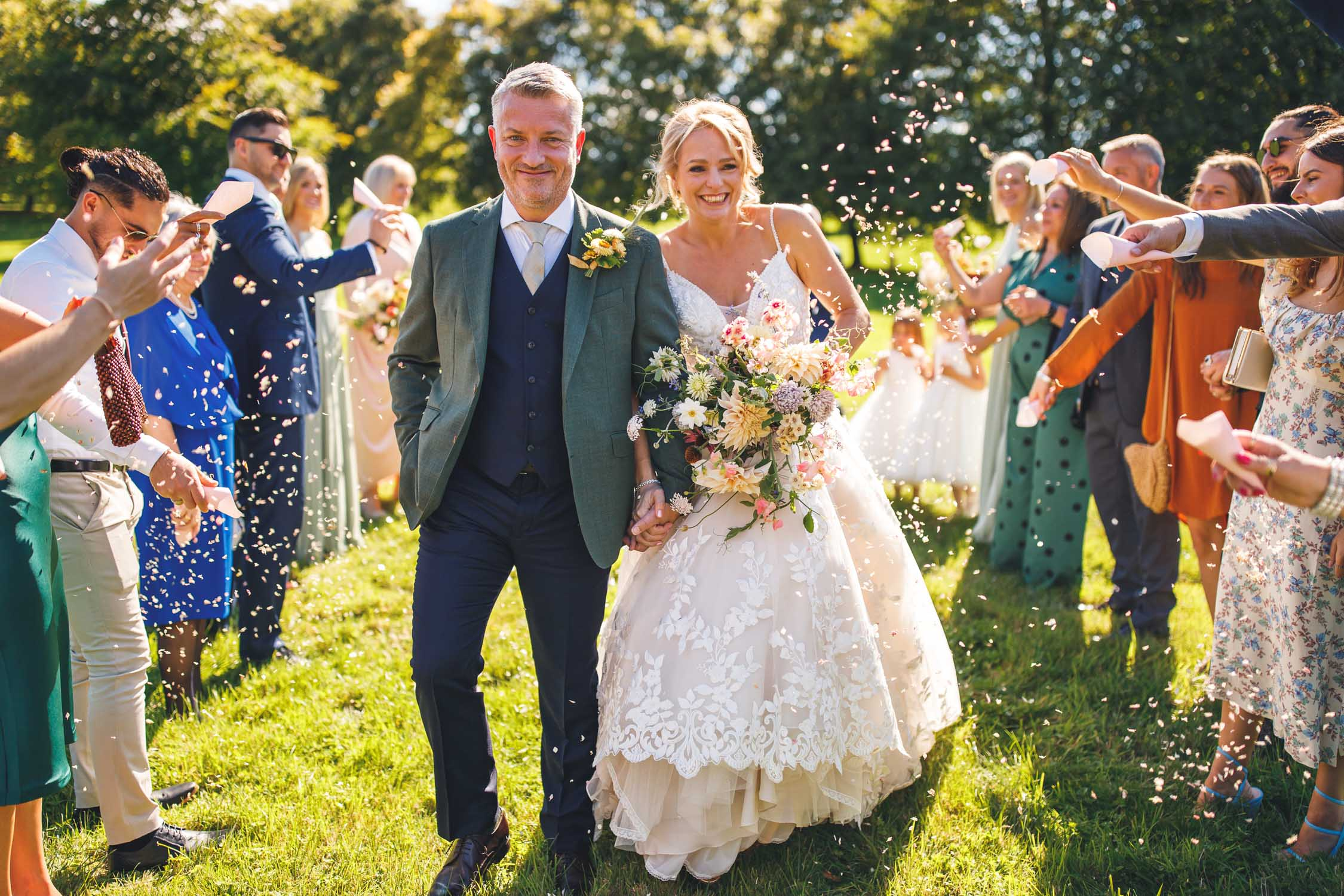 Confetti photography, Dewsall Court Wedding, Herefordshire, Uk